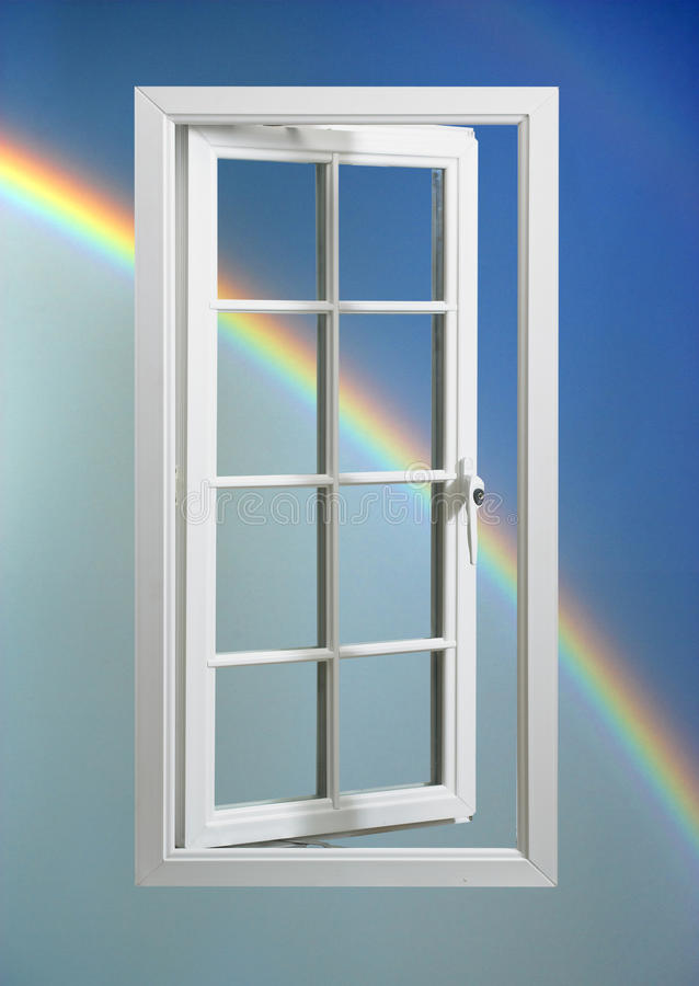 蓝色框架现代彩虹天空白色视窗 库存照片