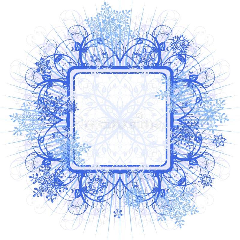 蓝色框架雪花 库存例证