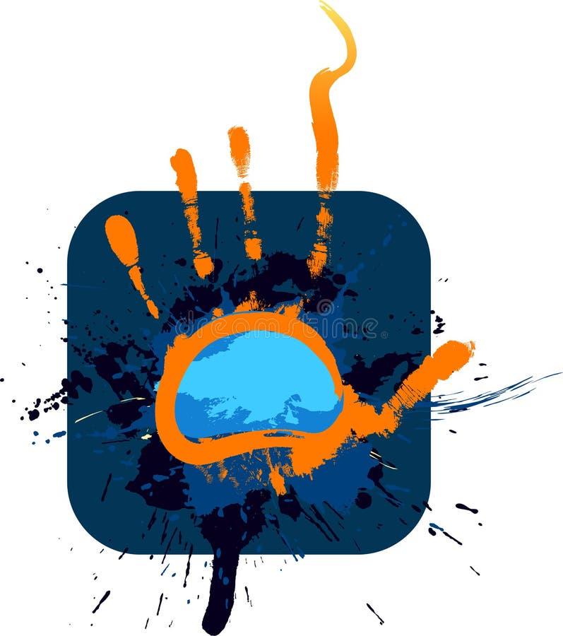 蓝色框架grunge 库存例证
