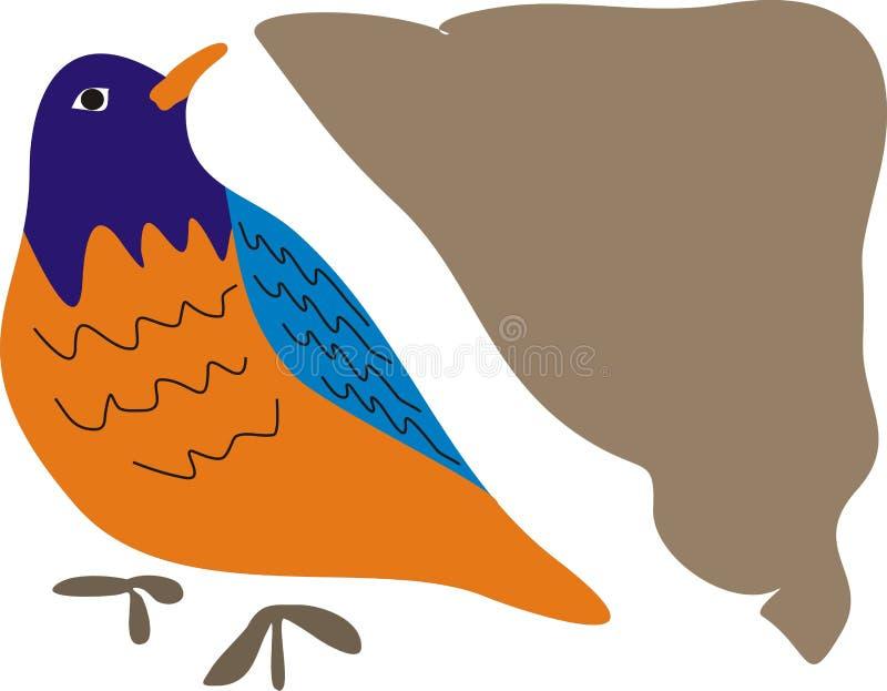 蓝色桔子和布朗边鸟  库存照片