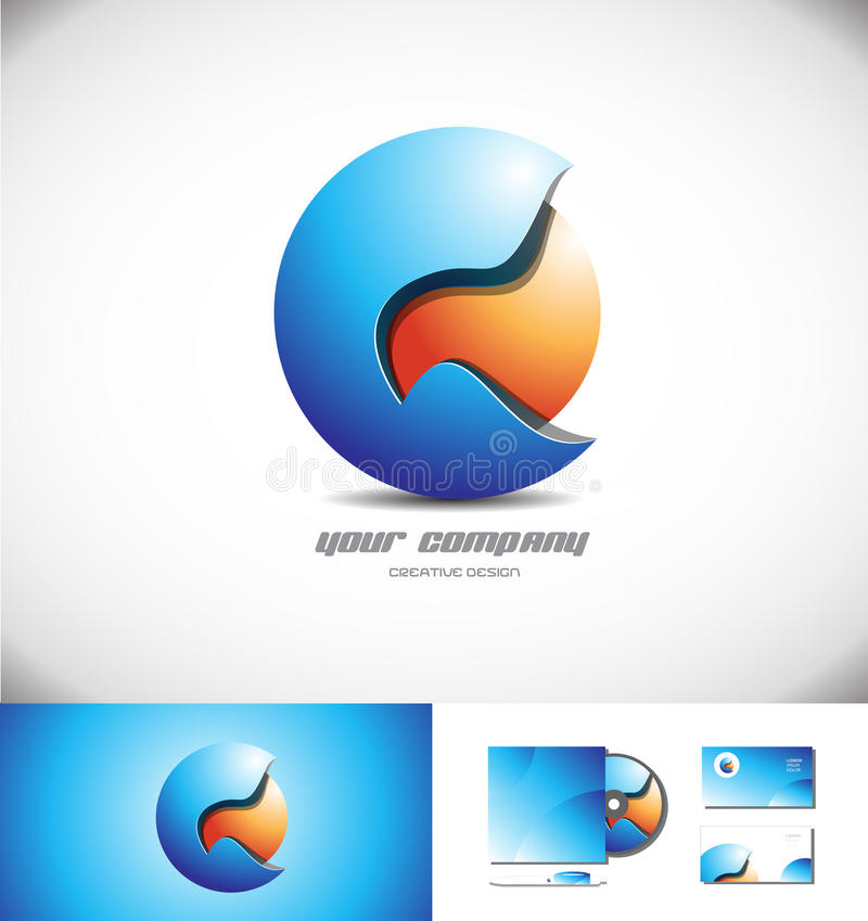 蓝色桔子3d球形商标象设计 向量例证