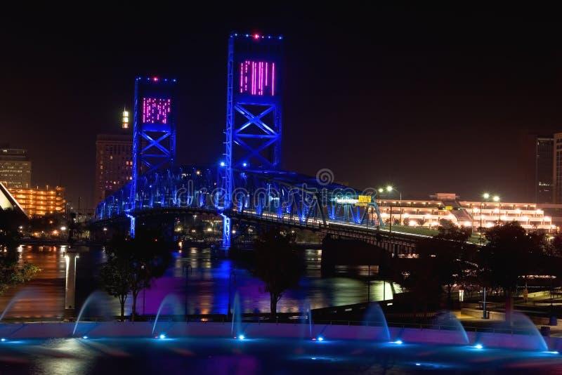 蓝色桥梁杰克逊维尔 免版税库存图片