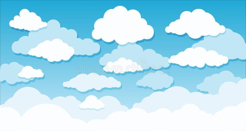 蓝色梯度天空和云彩传染媒介例证 向量例证