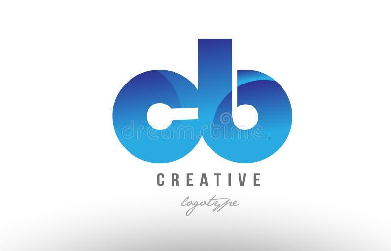 蓝色梯度钶c b字母表信件商标组合象desig 库存例证