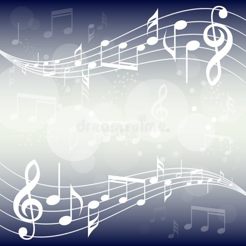 蓝色梯度音乐背景例证 与音乐的弯曲的梯级注意背景 向量例证