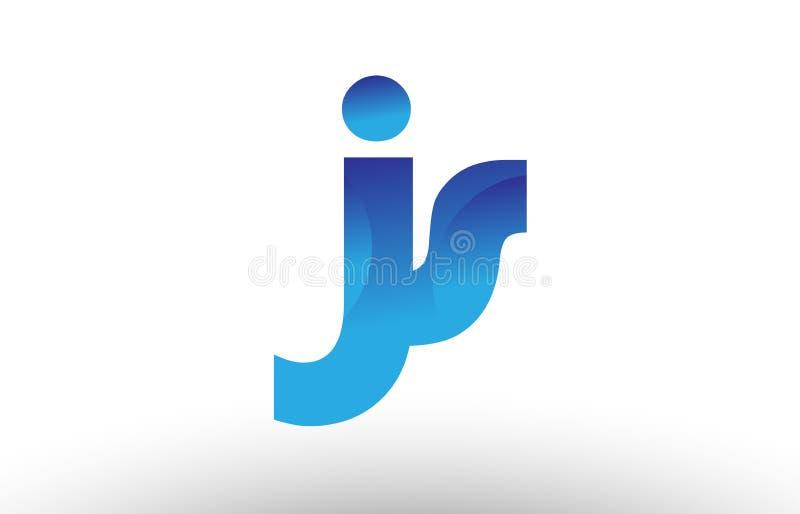 字母表信件商标组合js与蓝色梯度颜色的j s设计公司或事务的 id.图片