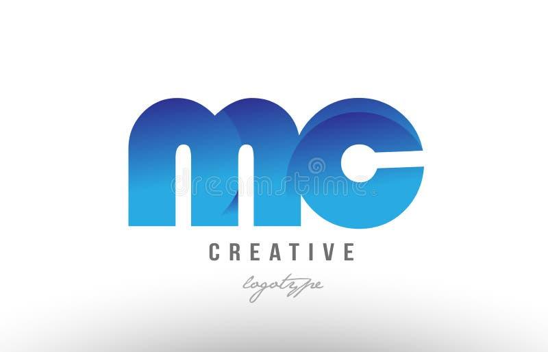蓝色梯度mc m c字母表信件商标组合象desig 向量例证