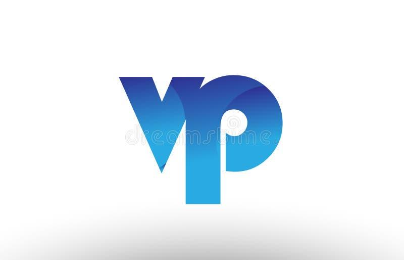 蓝色梯度vp v p字母表信件商标组合象desig 皇族释放例证
