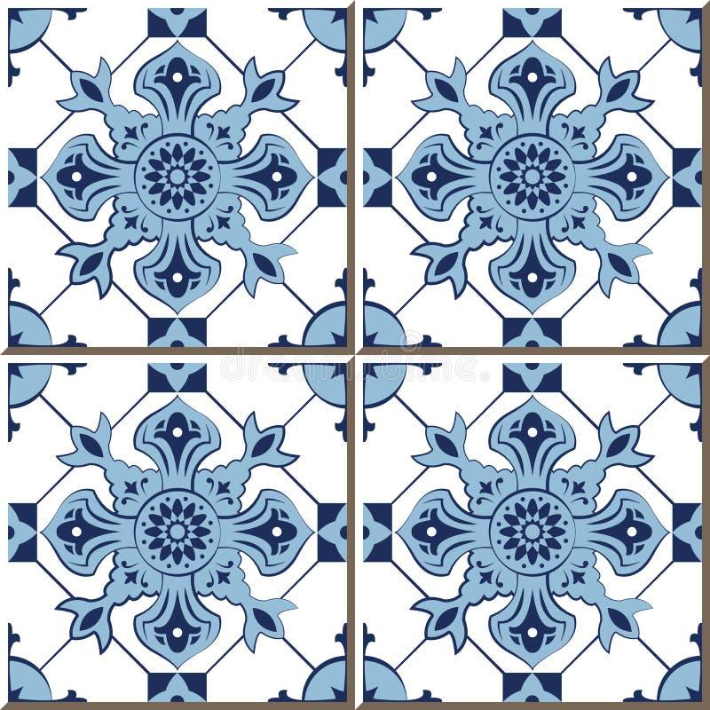 蓝色检查万花筒,摩洛哥人葡萄酒无缝的墙壁瓦片,葡萄牙语 库存例证