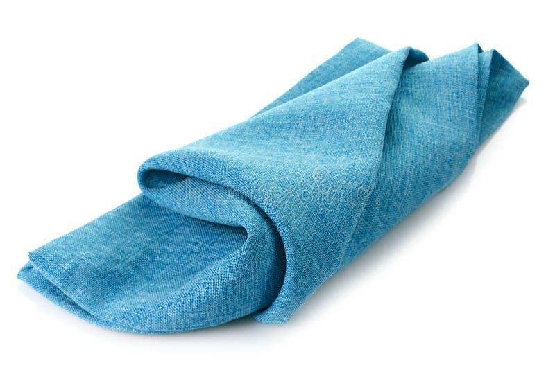 蓝色棉花餐巾 库存图片