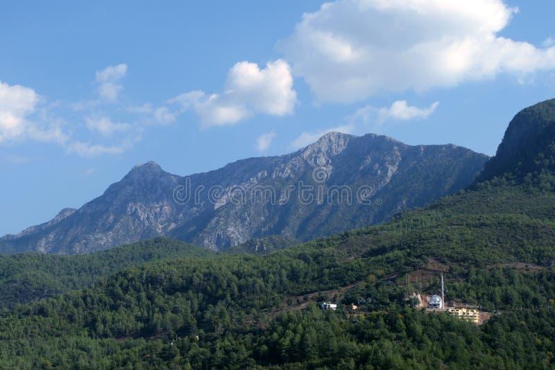 蓝色森林山天空 库存照片