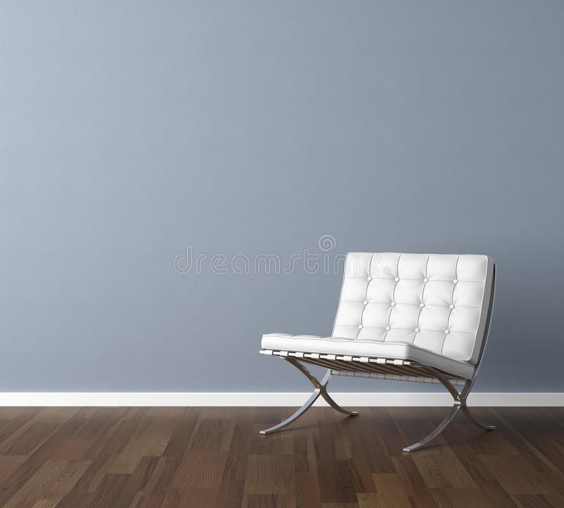 蓝色椅子内墙白色 皇族释放例证