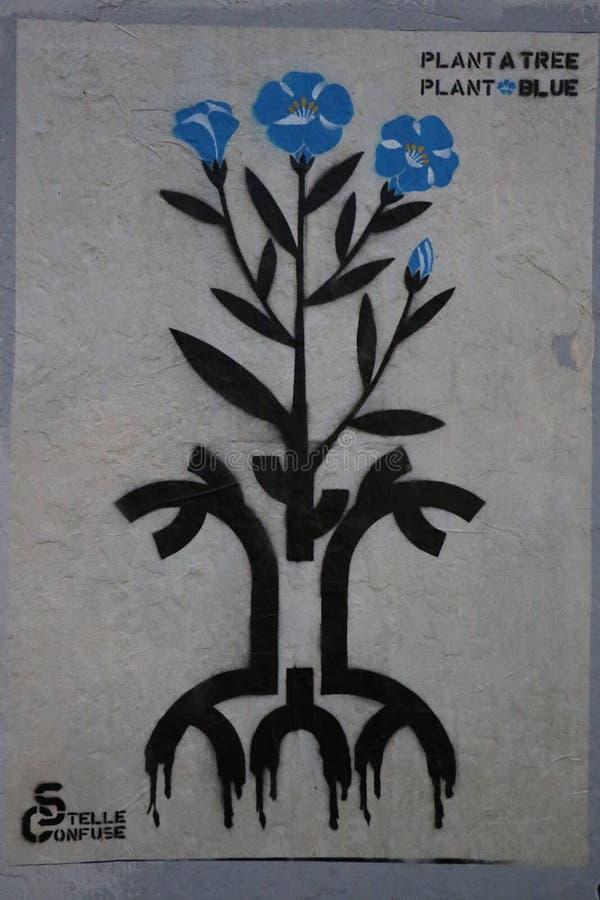 蓝色植物街道画 免版税库存图片