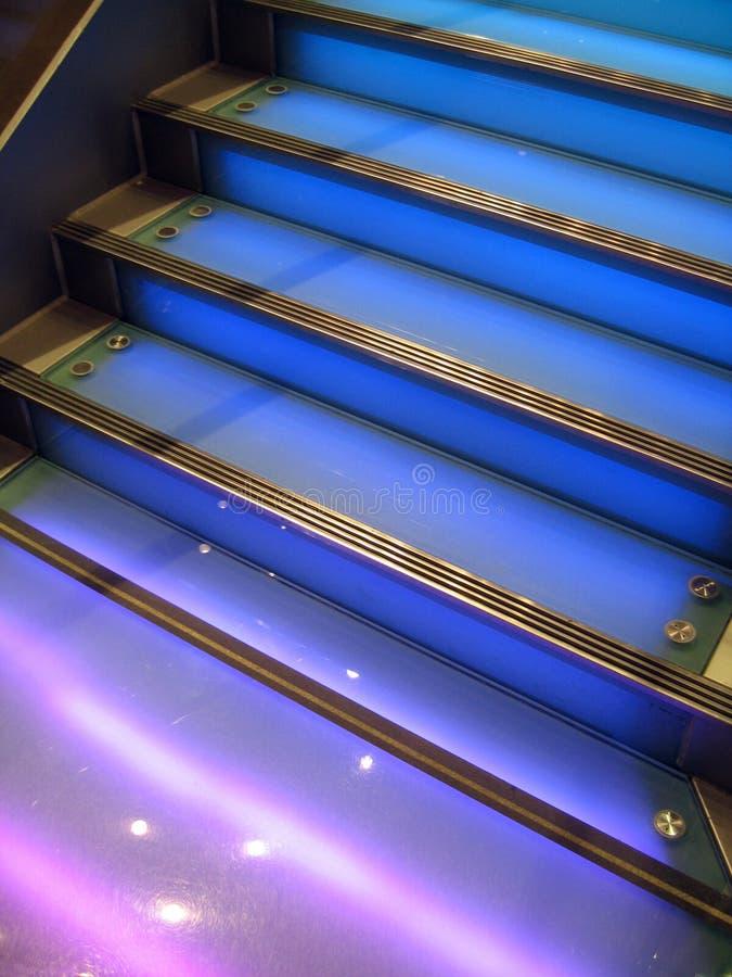 蓝色楼梯 免版税库存照片