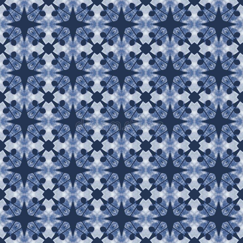蓝色模式无缝的白色 皇族释放例证