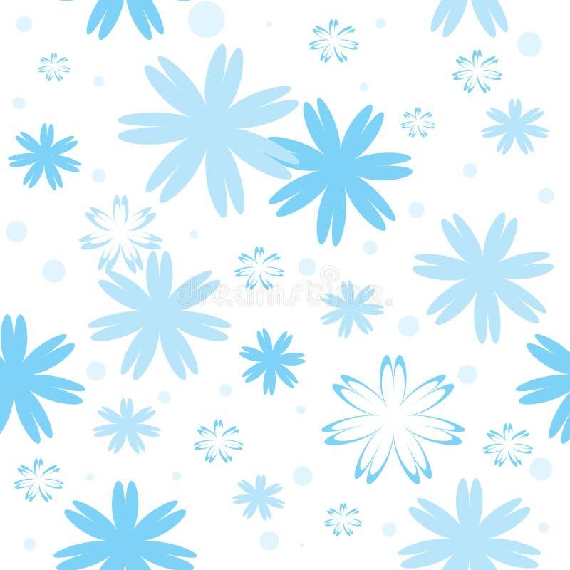 蓝色模式无缝的雪花 皇族释放例证