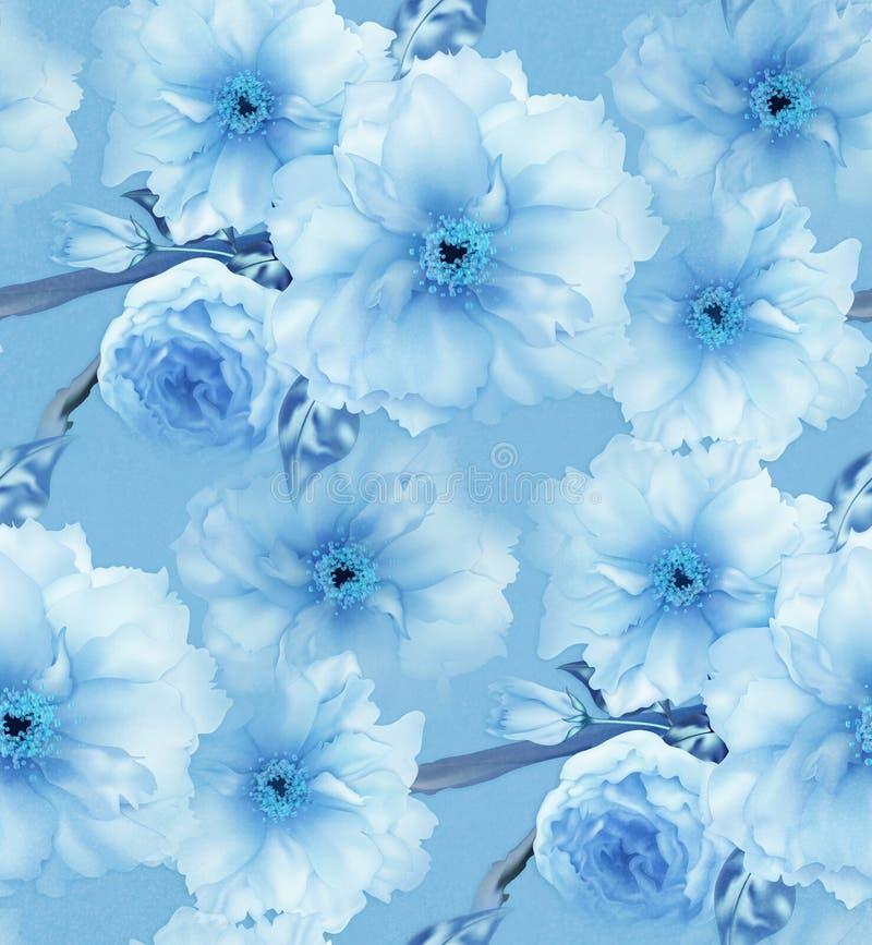 蓝色樱桃佐仓花花卉蓝色数字式艺术无缝的样式纹理背景 库存例证