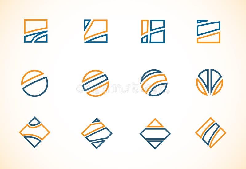 蓝色橙色商标元素象集合 向量例证