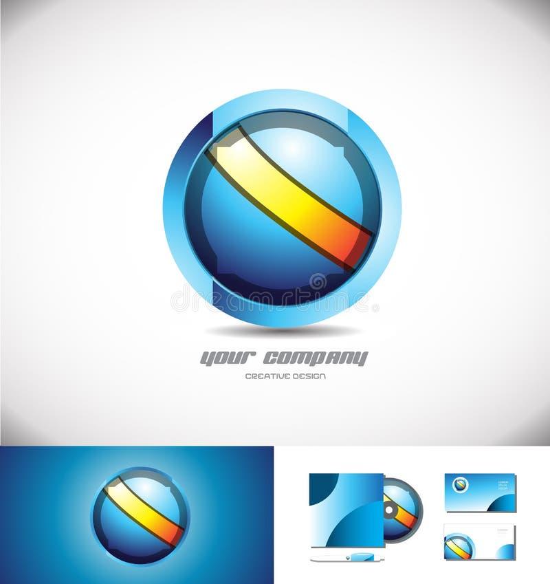 蓝色橙色球形圈子3d商标设计 库存例证