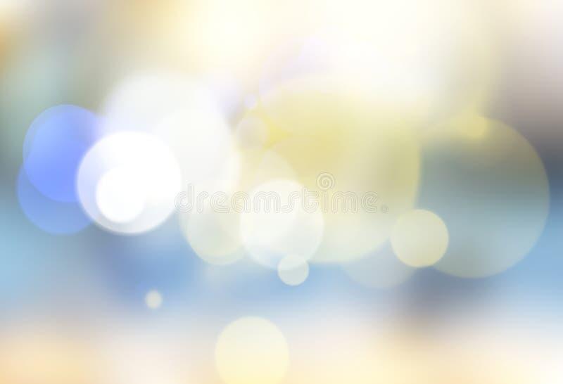 蓝色欢乐圣诞节背景 摘要被弄脏的蓝色bokeh b 免版税库存图片