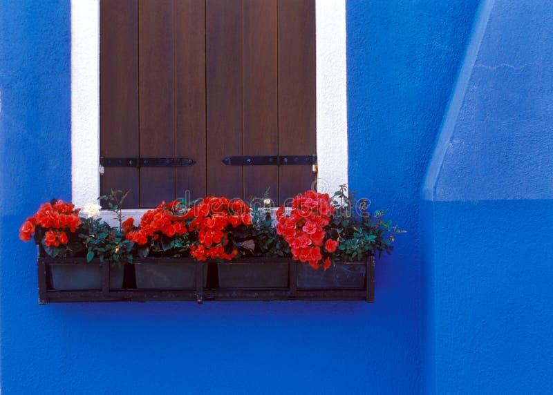 蓝色欧洲墙壁 免版税库存照片