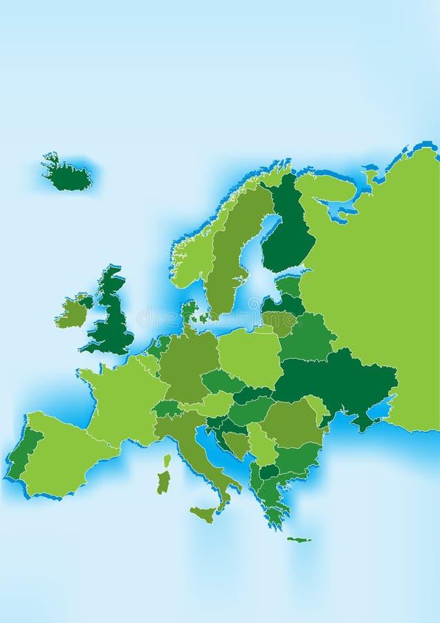 蓝色欧洲映射海运 向量例证
