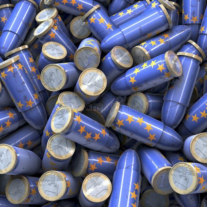 蓝色欧洲子弹堆  皇族释放例证