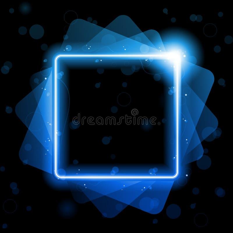 蓝色正方形排行背景氖激光 库存例证