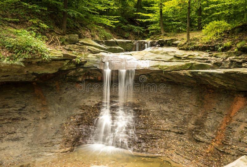 蓝色母鸡落柔滑的瀑布 库存照片
