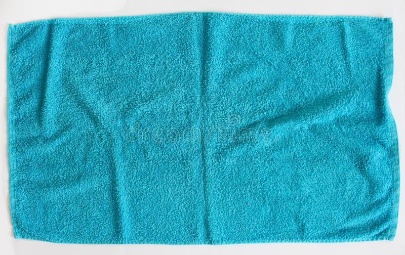 蓝色毛巾纹理顶视图  蓝色毛巾织品纹理背景 特写镜头 蓝色自然棉花毛巾背景 免版税库存图片