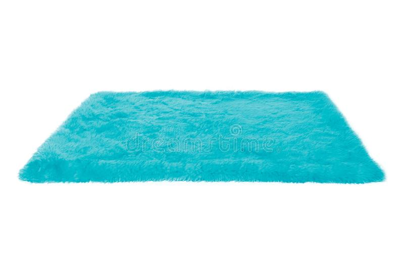 蓝色毛茸的地毯 查出 图库摄影