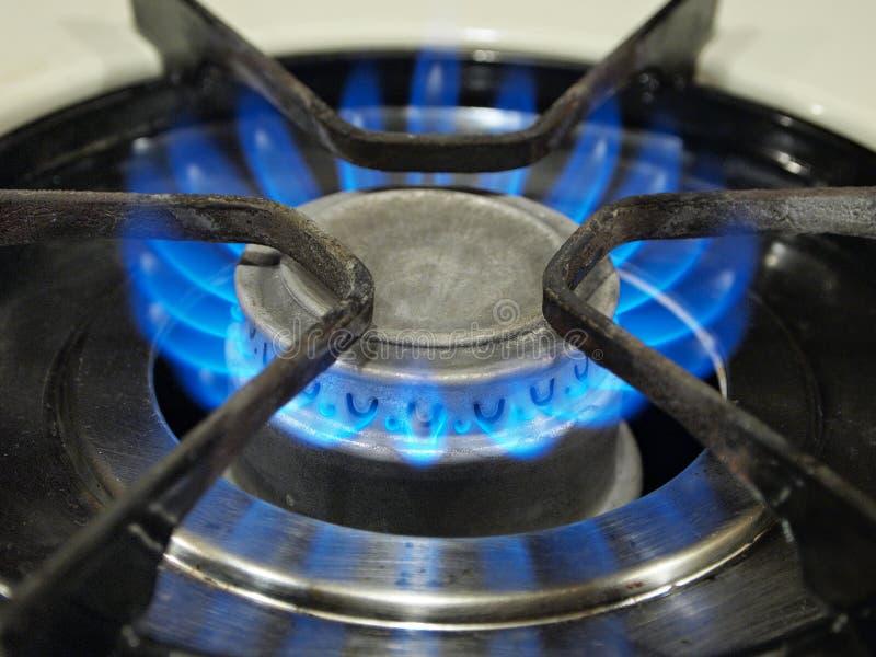 蓝色气体顶层火炉火焰。 库存照片