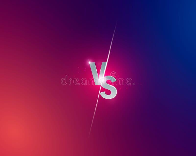 蓝色氖对商标对体育和战斗竞争的信件 作战对比赛,比赛概念竞争对 向量 向量例证