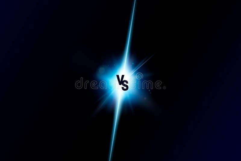 蓝色氖对商标对体育和战斗竞争的信件 作战对比赛,比赛概念竞争对 向量 库存例证