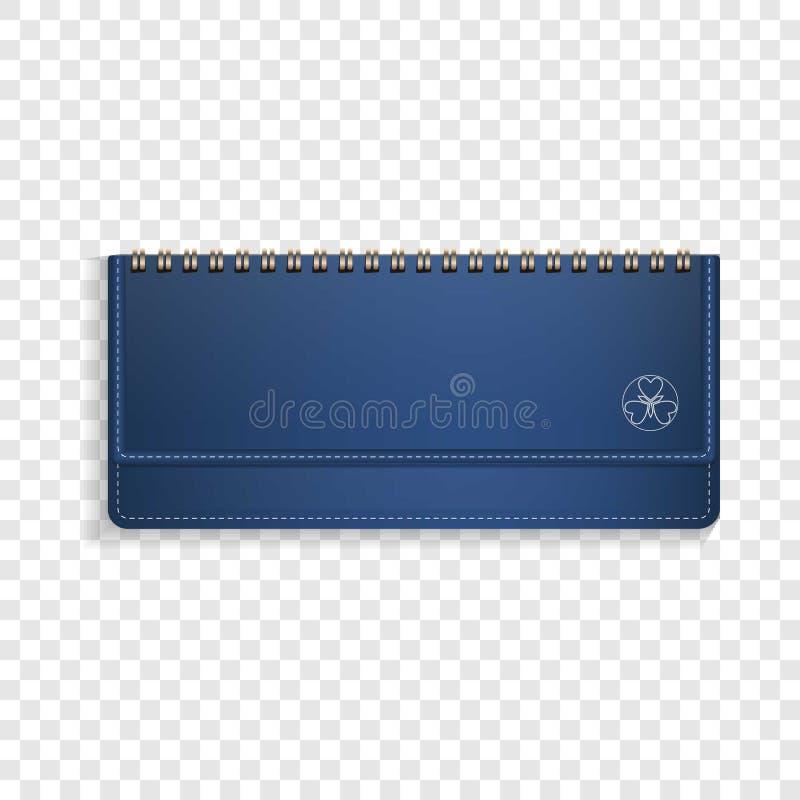蓝色水平的笔记本象,现实样式 库存例证