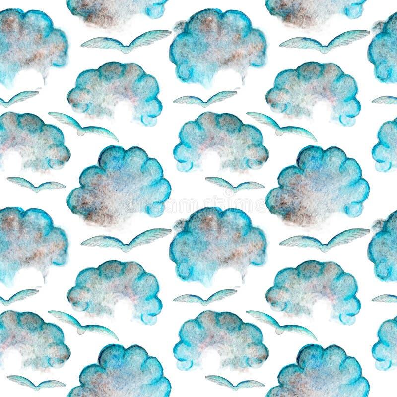 蓝色水彩卡通云与飞鸟无缝图案 皇族释放例证