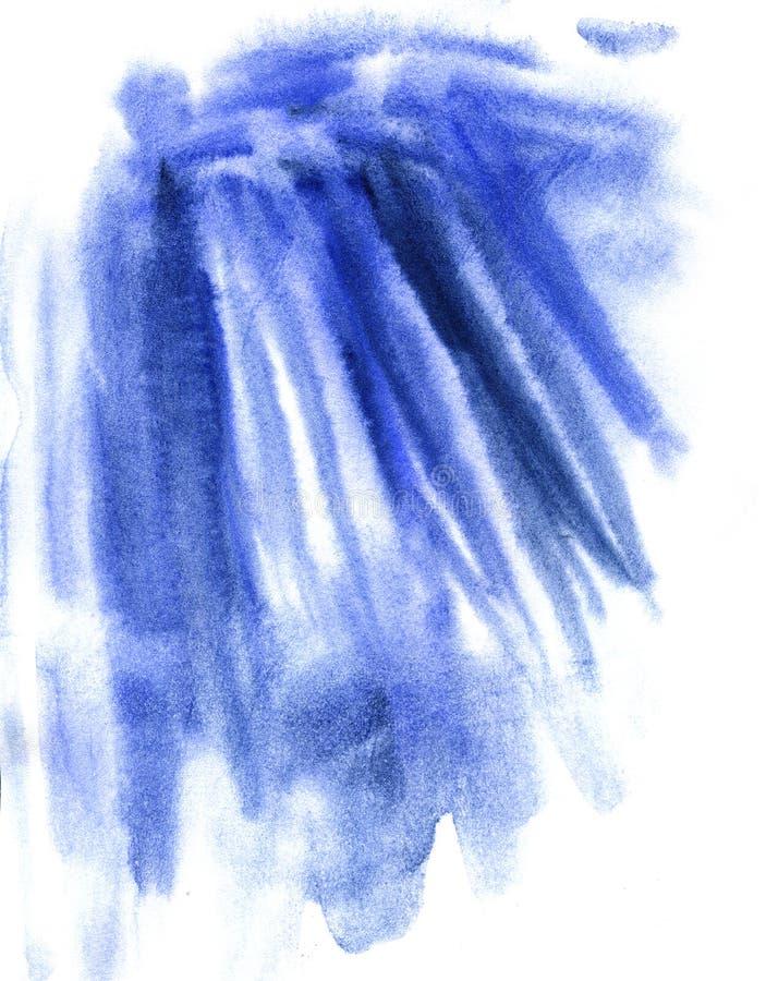 蓝色水彩摘要纹理,蓝色污点 库存例证