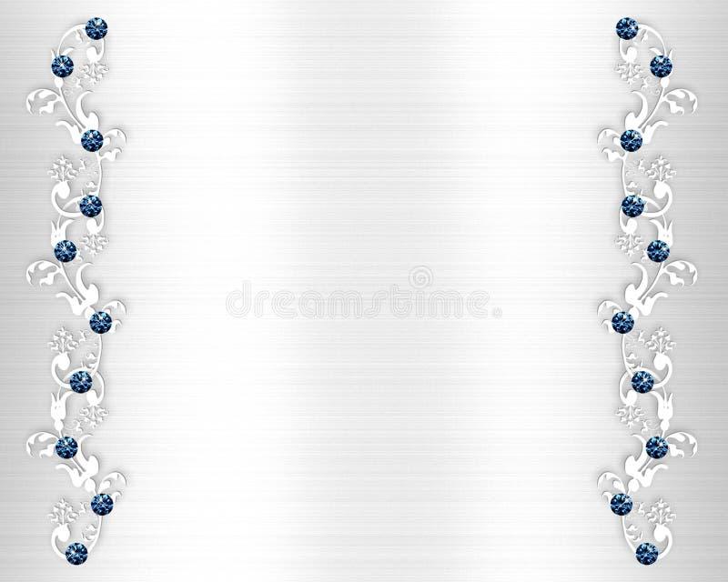 蓝色水晶邀请婚礼 库存例证