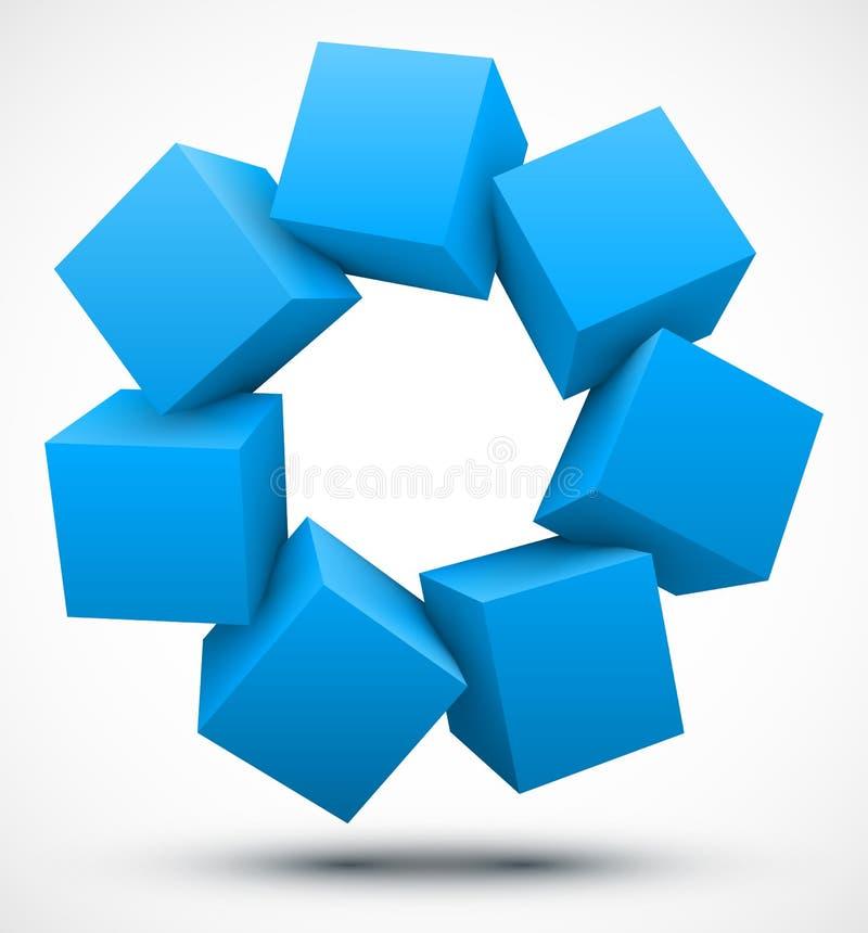 蓝色求3D的立方 皇族释放例证