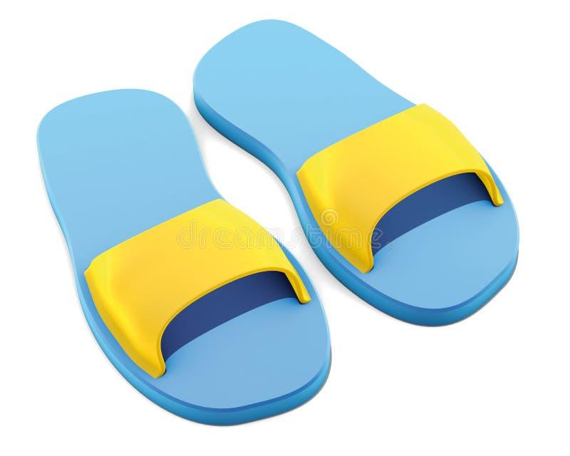 蓝色池拖鞋 向量例证