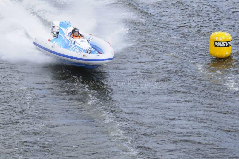蓝色汽艇炫耀白色 免版税库存照片
