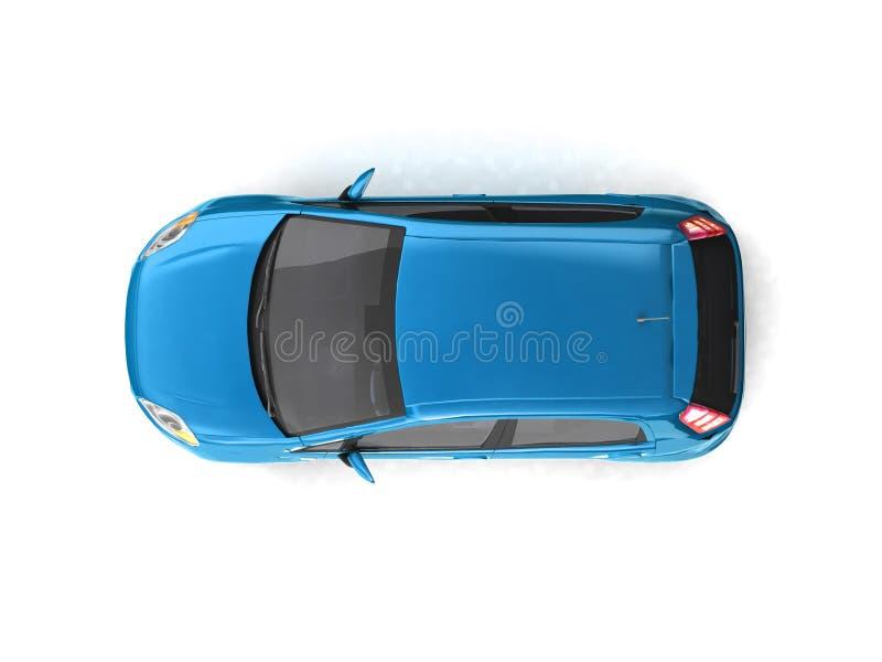 蓝色汽车斜背式的汽车顶视图 皇族释放例证