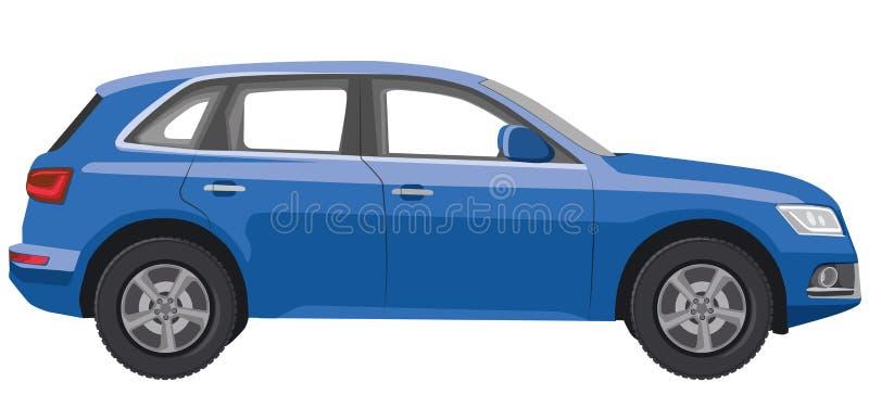 蓝色汽车斜背式的汽车 库存例证