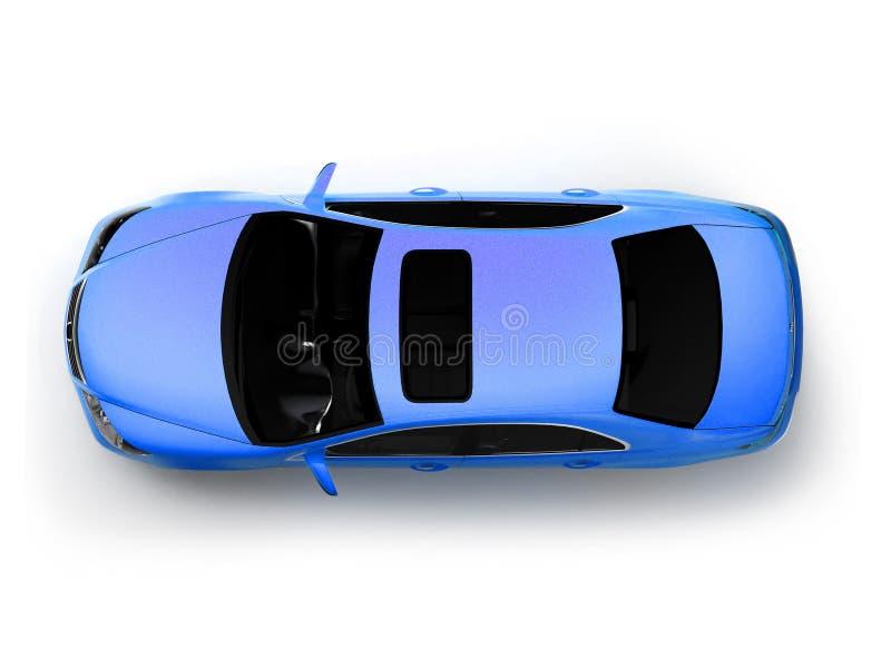 蓝色汽车查出的现代顶视图 皇族释放例证