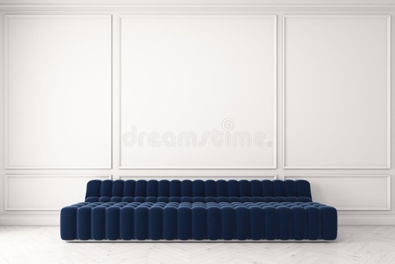 蓝色沙发对白色墙壁 皇族释放例证