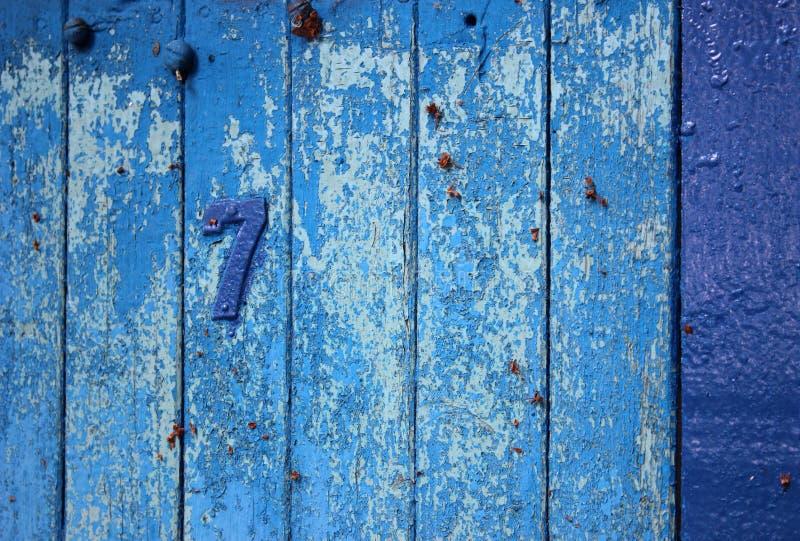 蓝色没有葡萄酒的木板 7 图库摄影