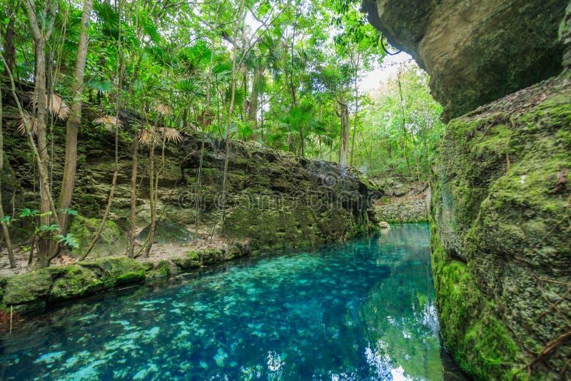 蓝色河在Xcaret,墨西哥 免版税库存图片
