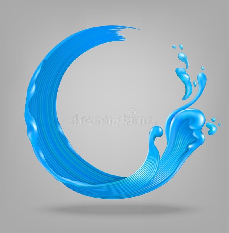 蓝色油漆飞溅 向量例证