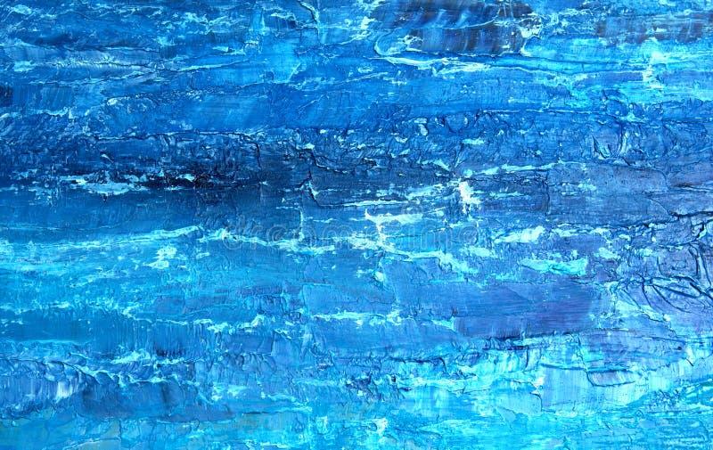 蓝色油画,关闭 在帆布的油腻的绘画 在帆布的油腻的绘画 ?? 织地不很细绘画 r 皇族释放例证