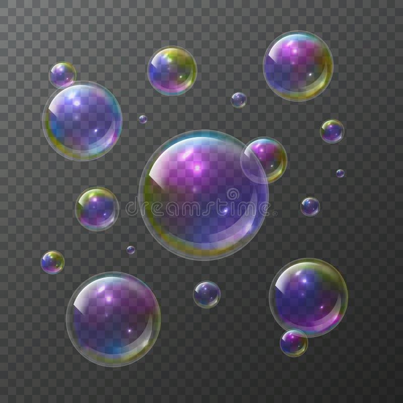 蓝色泡影肥皂结构音调 抽象泡沫泡影香波清楚的肥皂彩虹洗涤起泡的发光的起泡的纹理被隔绝的传染媒介集合 向量例证